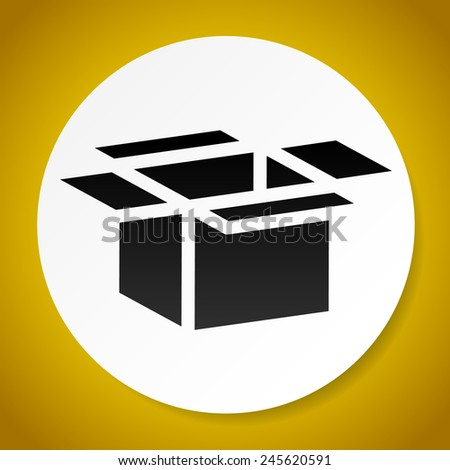 Open box icons for packaging, logistics or shipment concepts. Cardboard, paperboard boxes. Vector. - stock vector