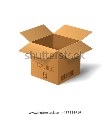 Open box isolated on white background. Vector illustration.
