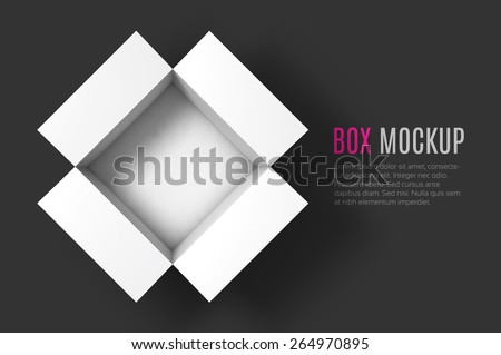 Open box mockup template. Top view. Vector Illustration EPS10. - stock vector