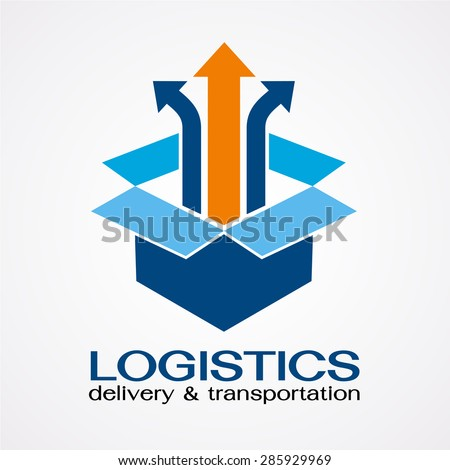 Open box with an up arrow, safe delivery,Box unpack symbol, vector logo design template. - stock vector