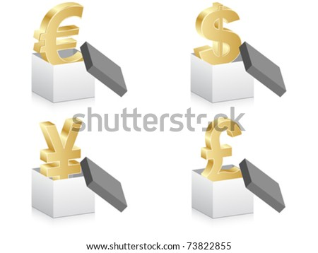 open box with currency - stock vector