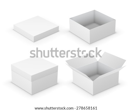 Open boxes design collection. White object on white background, vector illustration - stock vector
