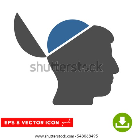 Open Brain EPS vector icon. Illustration style is flat iconic bicolor cobalt and gray symbol on white background.