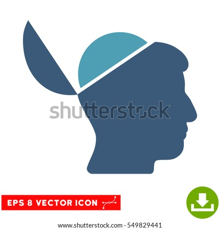 Open Brain EPS vector icon. Illustration style is flat iconic bicolor cyan and blue symbol on white background.