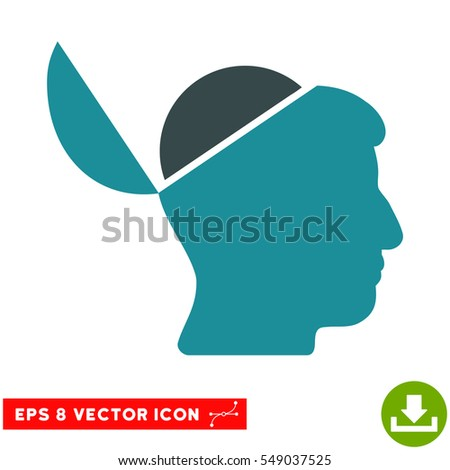 Open Brain EPS vector pictograph. Illustration style is flat iconic bicolor soft blue symbol on white background.