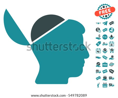 Open Brain icon with free bonus pictures. Vector illustration style is flat iconic symbols, soft blue colors, white background.