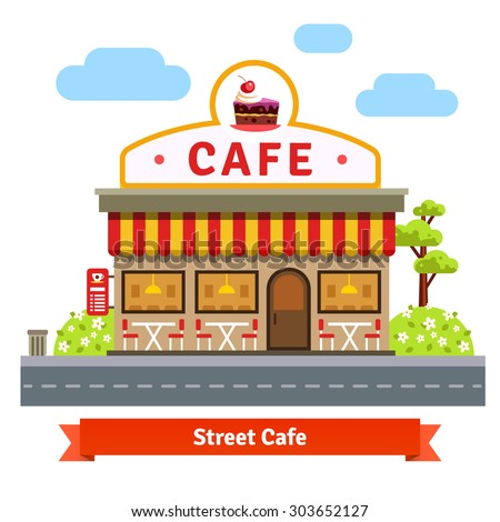 Open Cafe Building Facade With Outdoor Street Chair Seats And Tables Flat Style Vector Illustration
