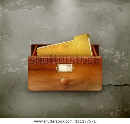 Open card catalog, old style vector - stock vector