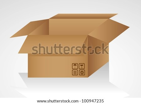 open cardboard box isolated on white background, vector illustration - stock vector