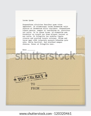 Open cardboard envelope with a top secret stamp and a letter handing out of it. EPS10 vector background. - stock vector