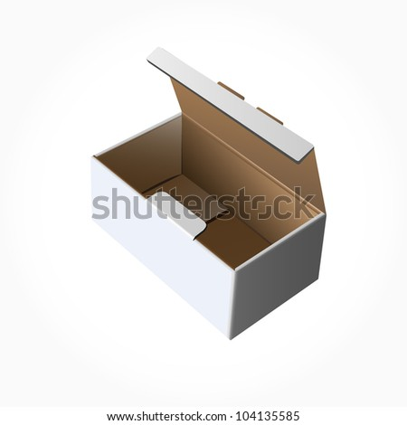 Open cardboard , Paper box on white background. Vector illustration. - stock vector