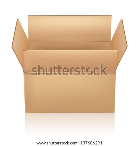 open carton box on white - stock vector