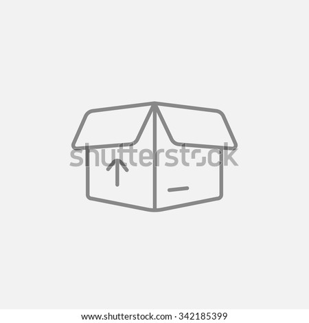 Open carton package box with arrow up line icon for web, mobile and infographics. Vector dark grey icon isolated on light grey background. - stock vector