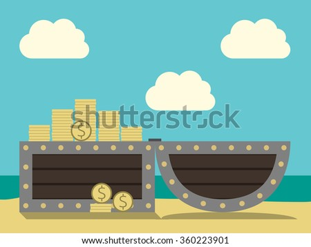 Open chest with treasure on sand beach on cloudy sky and ocean background. Many gold dollar coins. EPS 8 vector illustration, no transparency - stock vector
