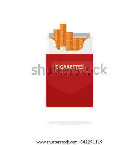 Open cigarettes pack box flat style vector illustration isolated on a white background, icon logo design idea, symbol, smoke problem concept, narcotic, product, production, tobacco, cigarette symbol. - stock vector