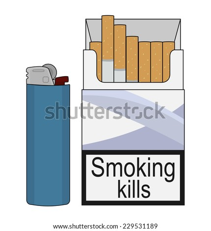 Open cigarettes pack with blue disposable gas lighter. Clip art color illustration isolated on white - stock vector
