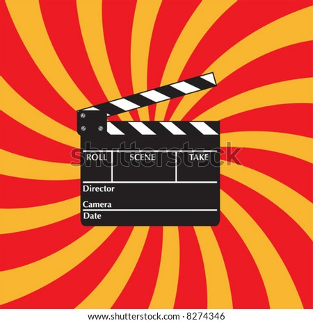 Open clapboard on red beams background. - stock vector