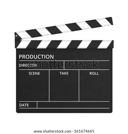Open clapper board on white background, vector eps10 illustration