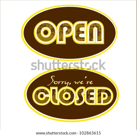 Open Closed Icons - stock vector