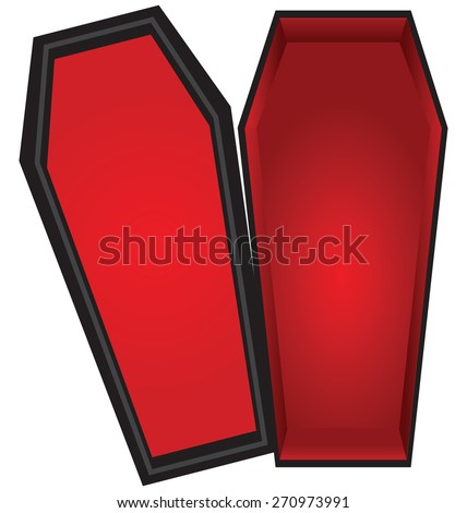 Open coffin with a red cloth inside the lid is open. Vector illustration. - stock vector