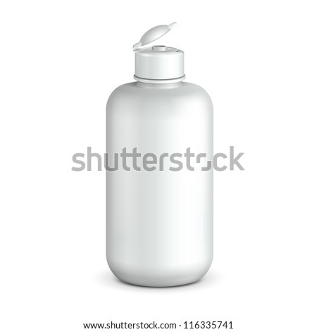 Open Cosmetic Or Hygiene Grayscale White Plastic Bottle Of Gel, Liquid Soap, Lotion, Cream, Shampoo. Ready For Your Design. Illustration Isolated On White Background. Vector EPS10 - stock vector