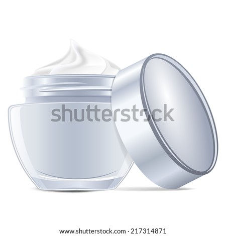 Open cream container isolated over white background - stock vector