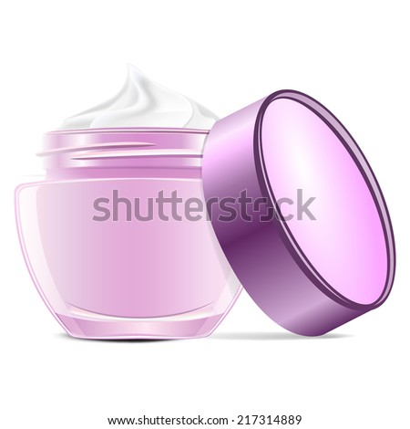 Open cream container isolated over white background. - stock vector
