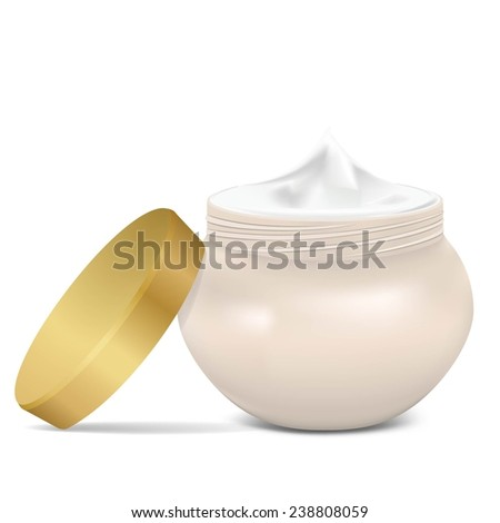 Open cream container isolated over white background. Vector illustration. - stock vector
