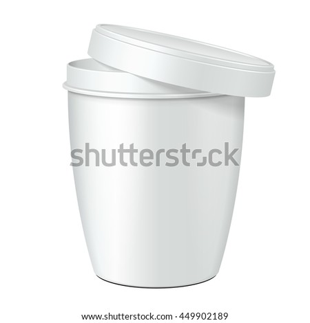 Open Cup Tub Food Plastic Container For Dessert, Yogurt, Ice Cream, Sour cream Or Snack. Illustration Isolated On White Background. Mock Up Template Ready For Your Design. Vector EPS10