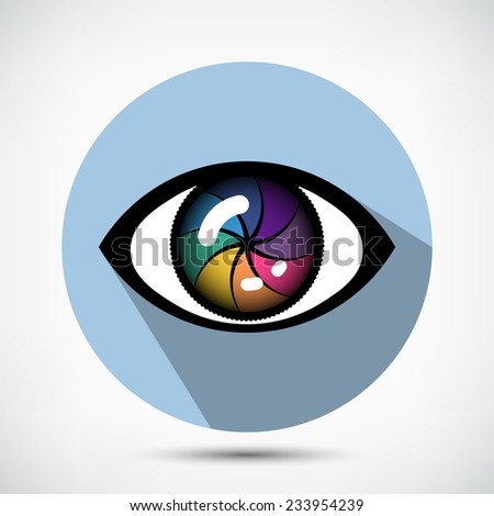 Open Cyber Eye Icon. Flat style - stock vector