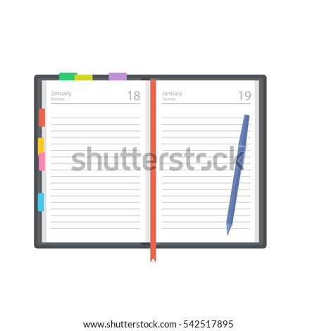 Open diary, planner or notebook vector illustration in flat style. Office and business supplies for lists, reminders, schedules or agendas.