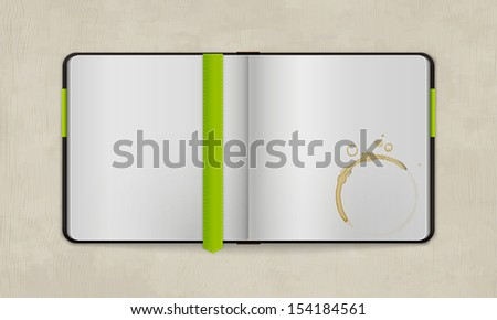 Open Diary with Blank Pages and Coffee Stain | Vector Mock Up  | Organized Layers - stock vector