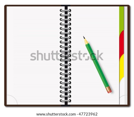 Open diary with the green pencil