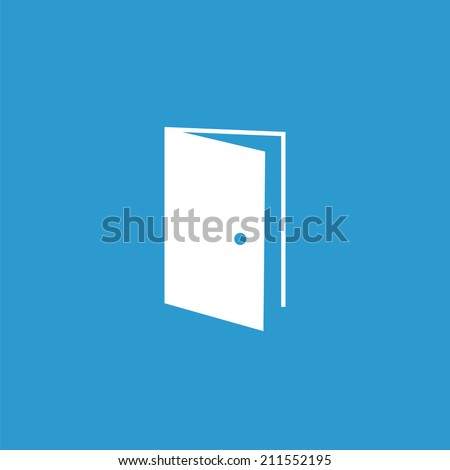 open door icon, isolated, white on the blue background. Exclusive Symbols  - stock vector