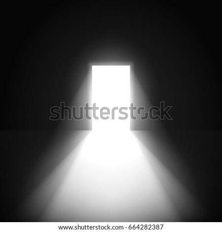 Open Door Dark Room Light Going Stock Vector 664282387 Shutterstock
