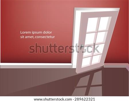 Open door in a empty red room. Vector illustration. - stock vector