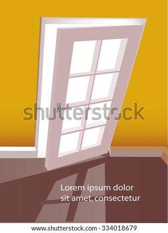 Open door in a empty yellow room. Vector illustration. - stock vector