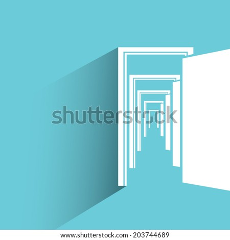 open door, opportunity concept, blue background, flat and shadow theme - stock vector