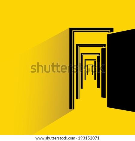 open door, opportunity concept, goal, target - stock vector