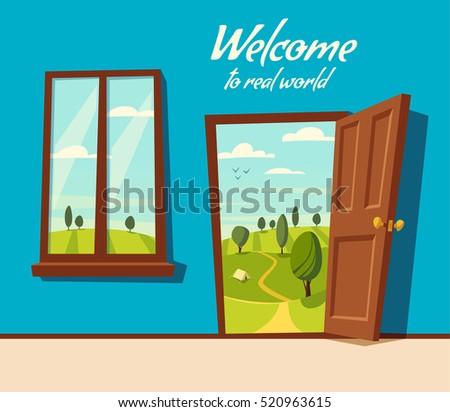 Open Door Welcome Clipart windows and doors stock images, royalty-free images & vectors