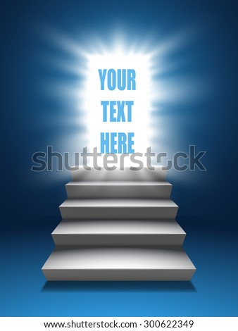 Open door with light and stairs blue background