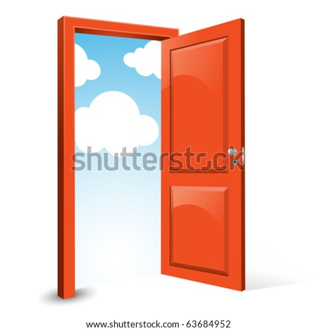 open door with sky background - stock vector