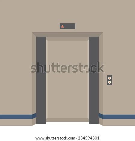 Open Doors Elevator Vector Illustration - stock vector