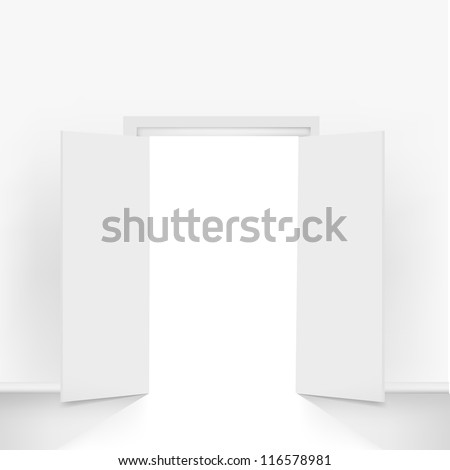 Open Doors, Isolated On Grey Background, Vector Illustration - stock vector