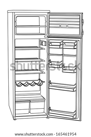 open refrigerator clipart. open drink refrigerator vector isolated on white background. vertical empty fridge illustration. clipart