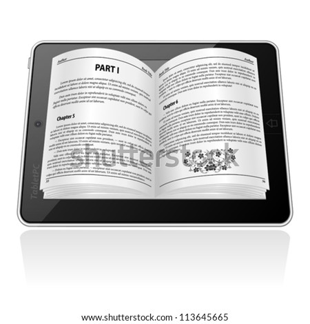Open electronic book on Tablet Computer, E-book Concept, isolated on white, vector illustration