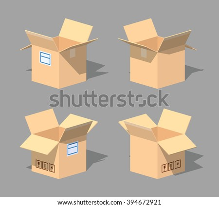 Open empty cardboard box. 3D lowpoly isometric vector illustration. The set of objects isolated against the grey background and shown from different sides - stock vector