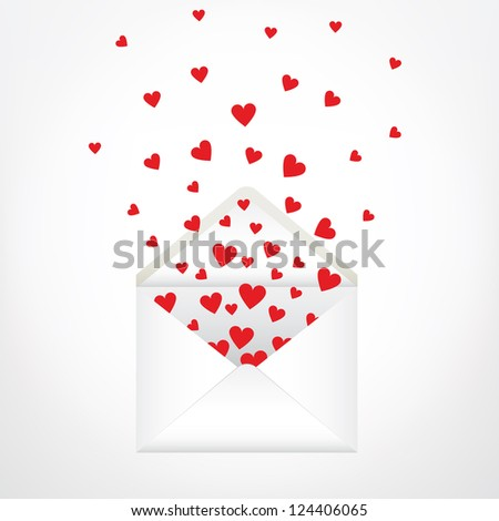 open envelope and hearts. Love letter - stock vector