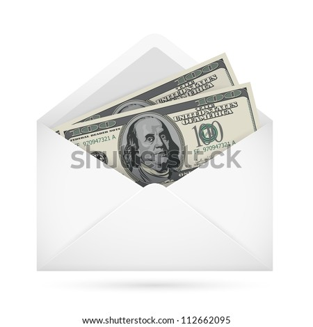 Open envelope containing dollar banknotes on a white background - stock vector
