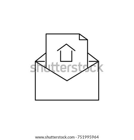 open envelope letter icon real estate stock vector 751995964
